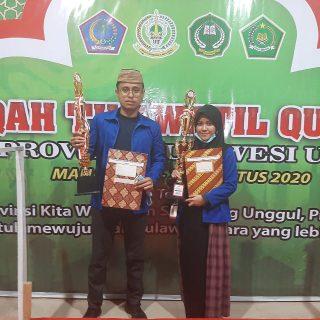 Dua Kafilah Boltim, Wisnu Hamzah Juara I Qiraat Mujawwad Putra dan Siti Fazriah Mamonto, Juara I Hifdzil Quran 5 juz